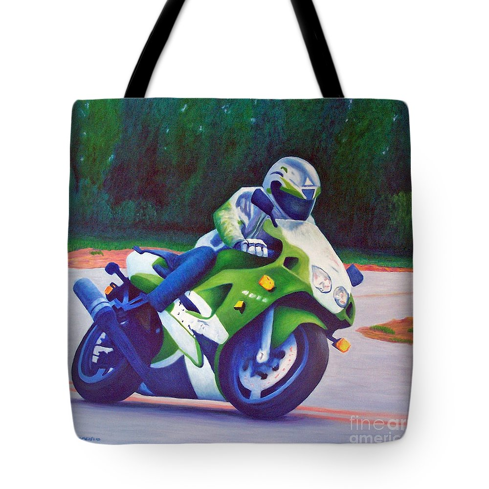 Motorcycle Tote Bag featuring the painting Kawasaki Zx7 - In The Groove by Brian Commerford