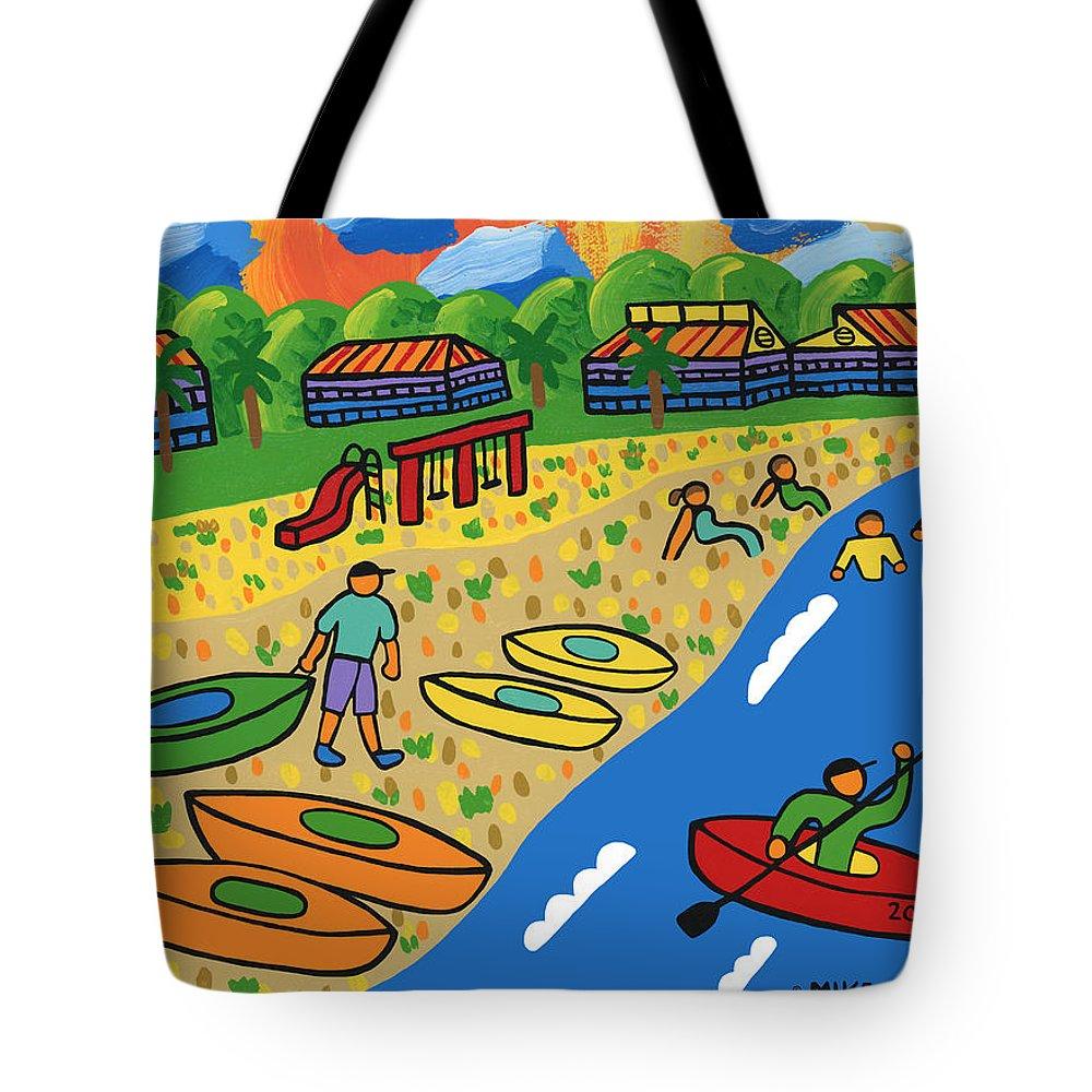 Kayak Tote Bag featuring the painting Kayak Beach - Cedar Key by Mike Segal