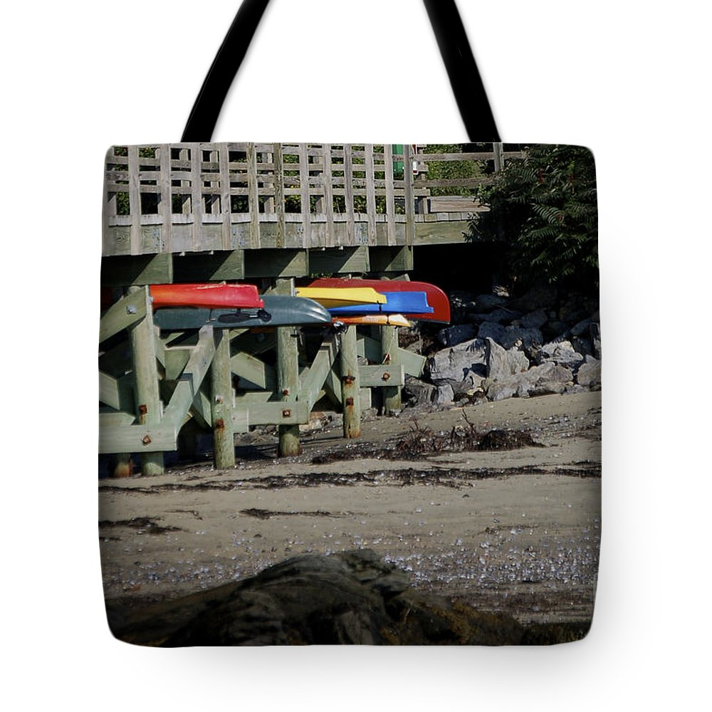 Kayak Tote Bag featuring the photograph Kayak Rack by Faith Harron Boudreau
