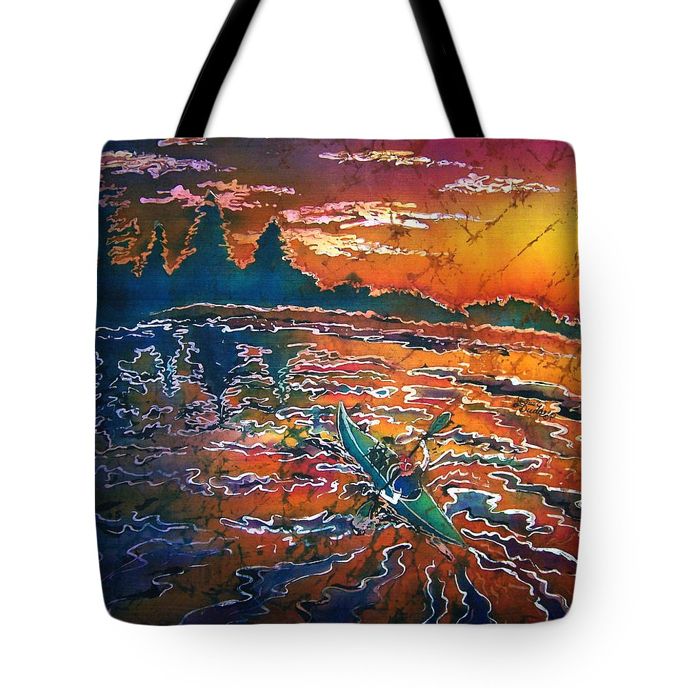 Kayak Tote Bag featuring the painting Kayak Serenity by Sue Duda