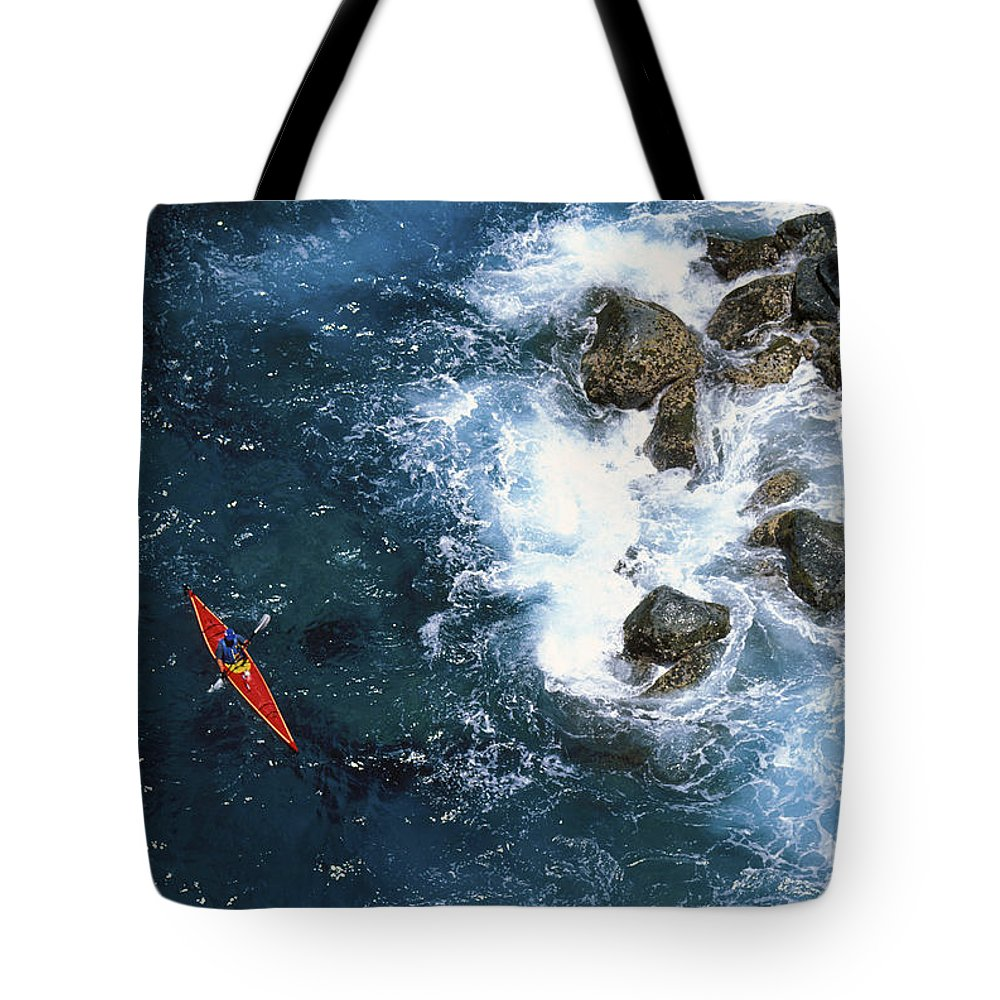 Above Tote Bag featuring the photograph Kayaking Along Coastline by Ron Dahlquist - Printscapes