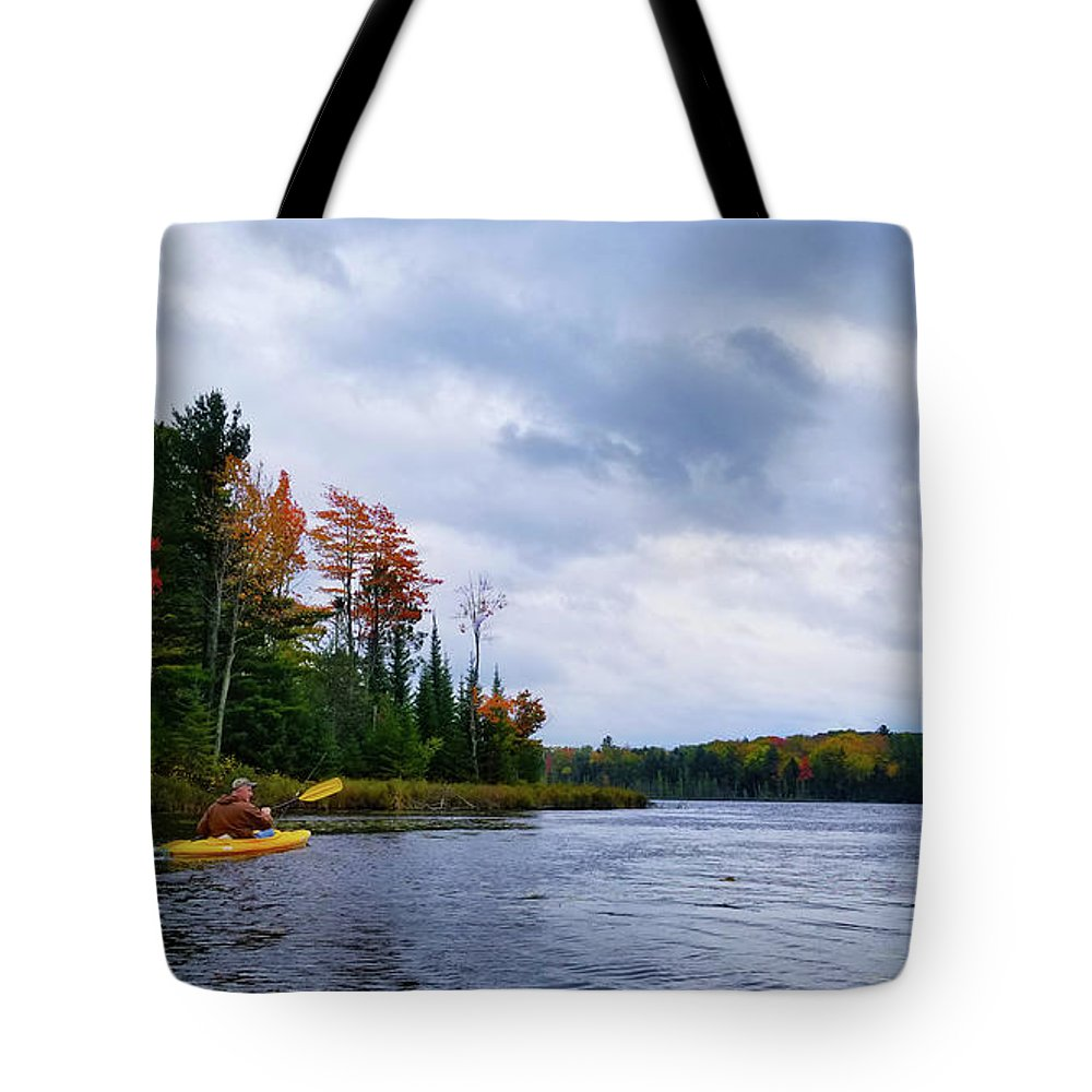 Kayaking Tote Bag featuring the photograph Kayaking In Autumn by Brook Burling