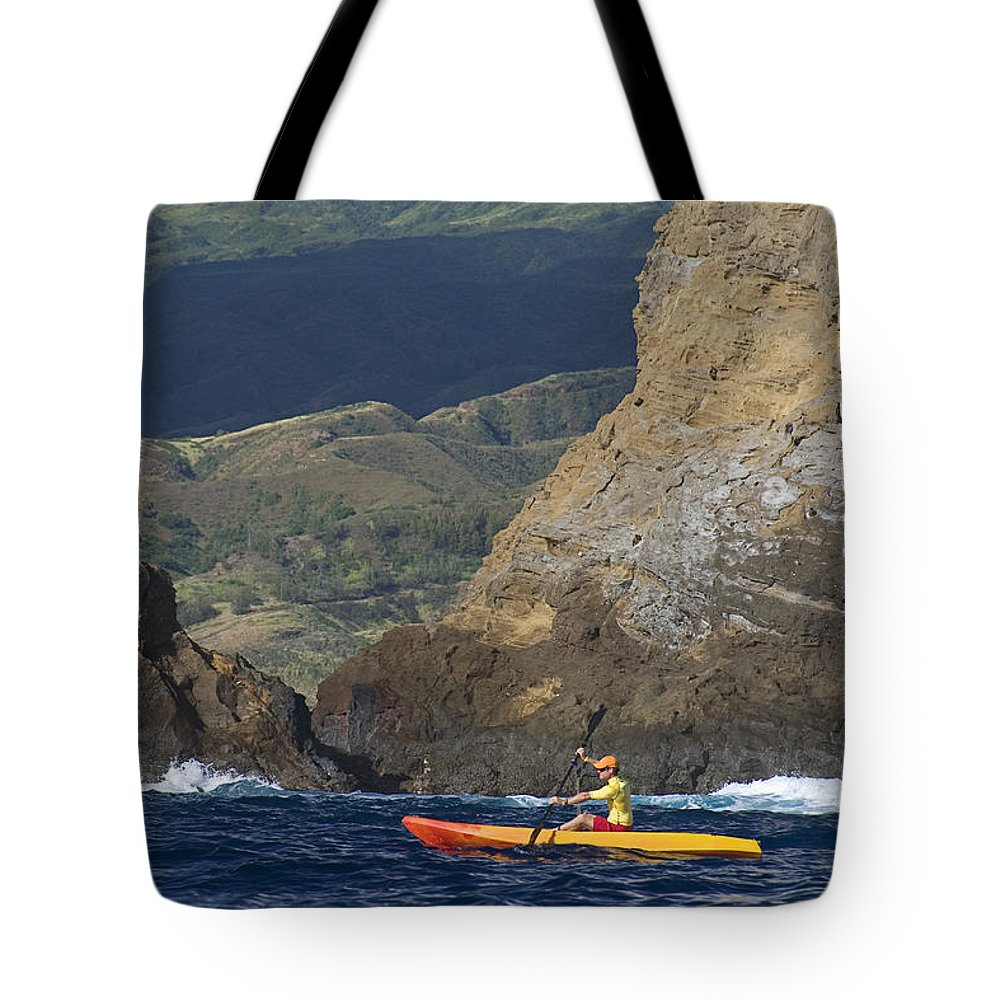 Boat Tote Bag featuring the photograph Kayaking In Molokai by Dave Fleetham - Printscapes