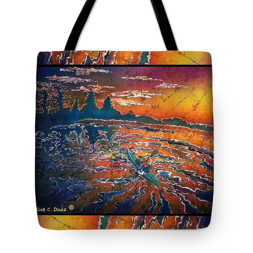 Kayak Tote Bag featuring the painting Kayaking Serenity - Bordered by Sue Duda
