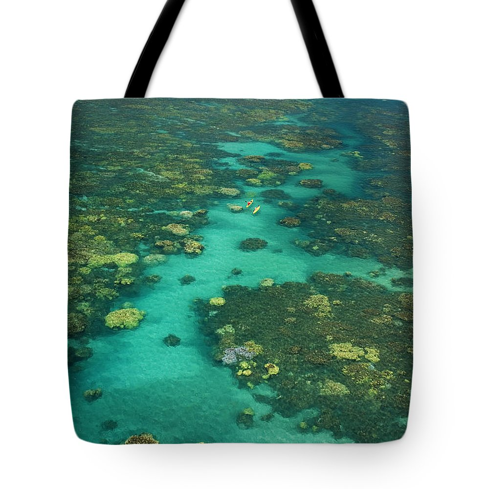 Above Tote Bag featuring the photograph Kayaking Through Beautiful Coral by Ron Dahlquist - Printscapes
