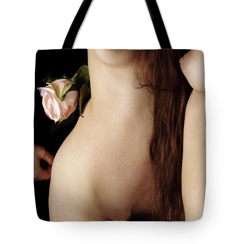 Female Nude Abstract Mirrors Flowers Photographs Tote Bag featuring the photograph Kazi0804 by Henry Butz