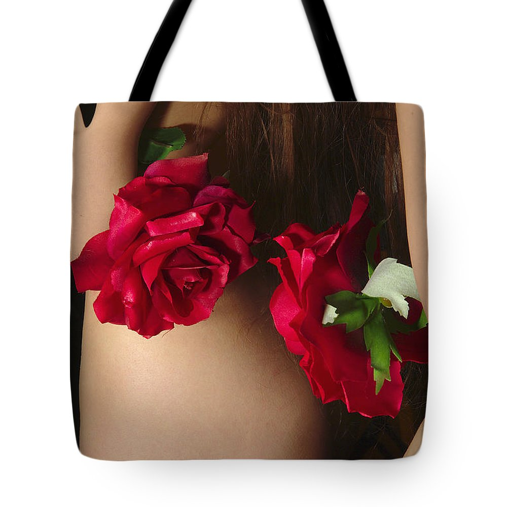 Female Nude Abstract Mirrors Flowers Tote Bag featuring the photograph Kazi0812 by Henry Butz