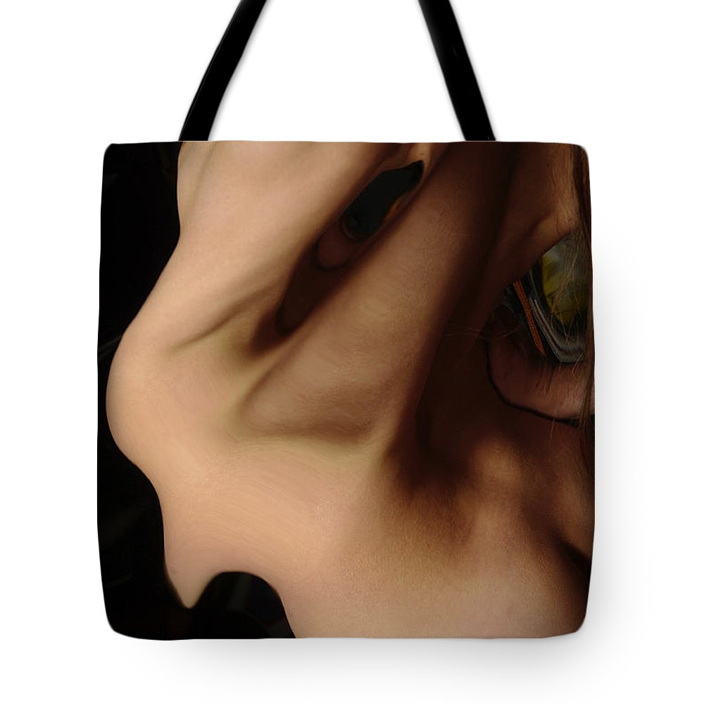 Female Nude Abstract Mirrors Flowers Tote Bag featuring the photograph Kazi0834 by Henry Butz