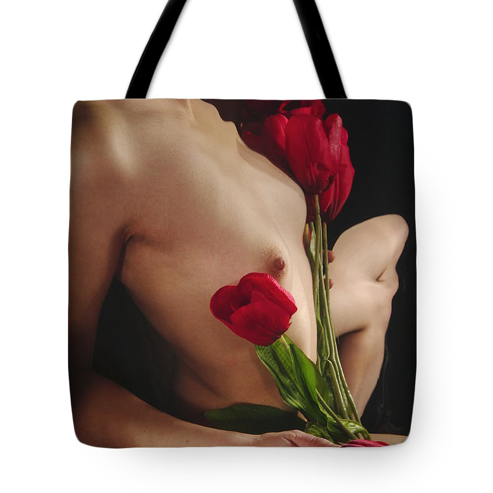 Female Nude Abstract Mirrors Flowers Tote Bag featuring the photograph Kazi1126 by Henry Butz