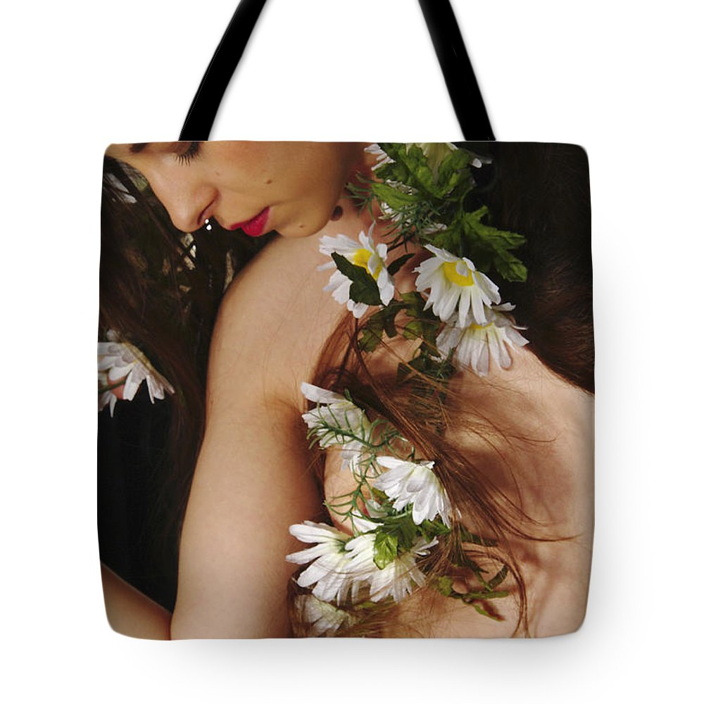 Female Nude Abstract Mirrors Flowers Photographs Tote Bag featuring the photograph Kazi1134 by Henry Butz