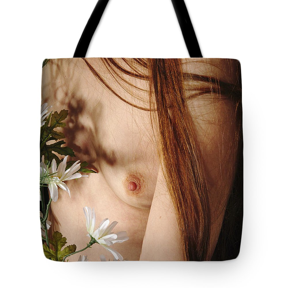 Female Nude Abstract Mirrors Flowers Tote Bag featuring the photograph Kazi1141 by Henry Butz