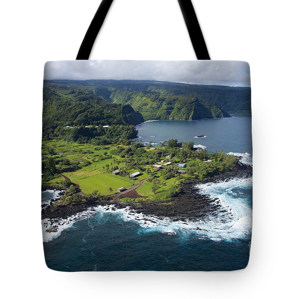 Aerial Tote Bag featuring the photograph Keanae Peninsula Aerial by Ron Dahlquist - Printscapes