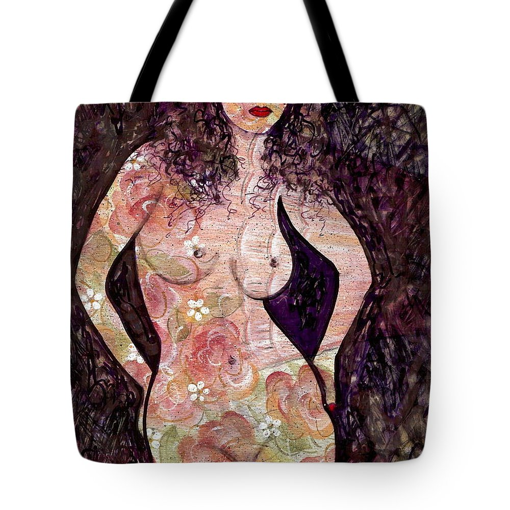 Nude Tote Bag featuring the painting Keanna by Natalie Holland