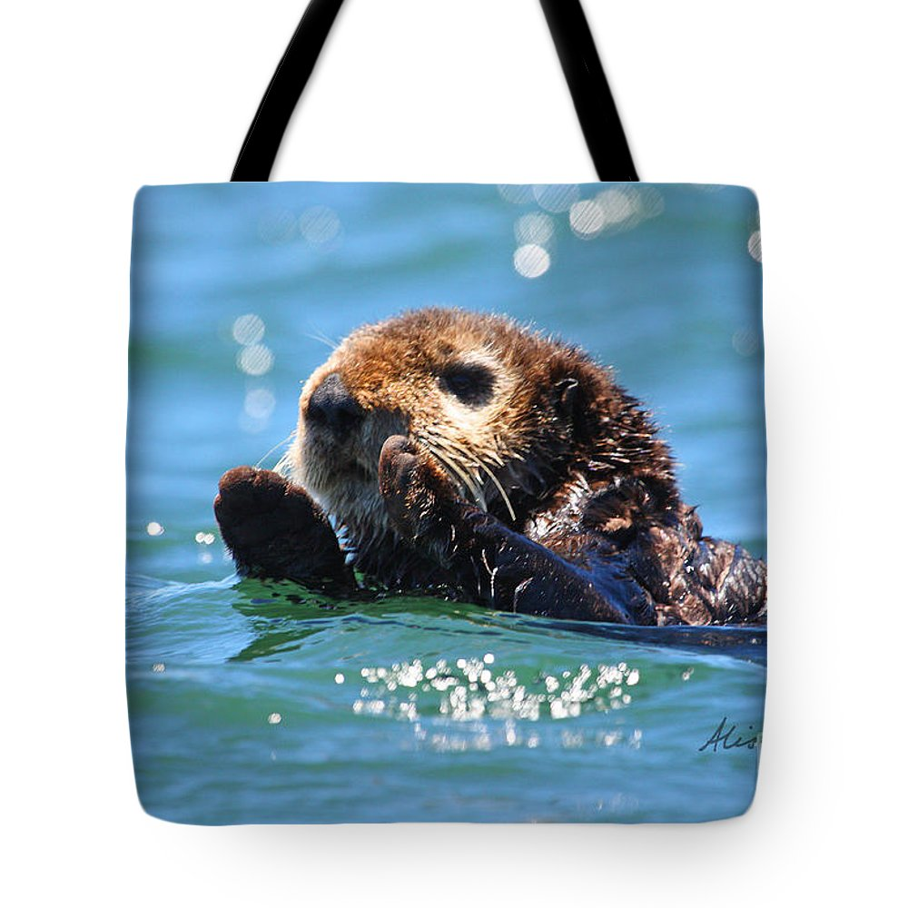 Otter Tote Bag featuring the photograph Keep Calm by Alison Salome