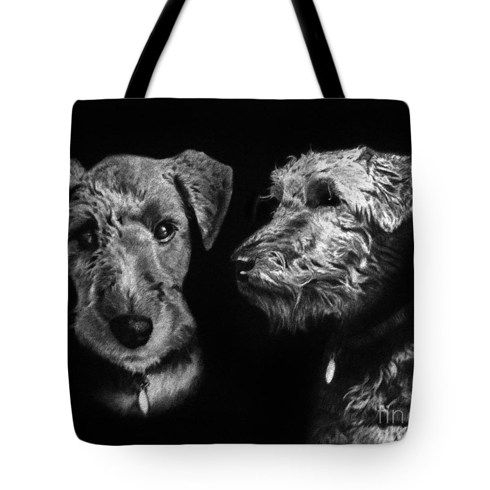 Welsh Terrier Tote Bag featuring the drawing Keeper The Welsh Terrier by Peter Piatt