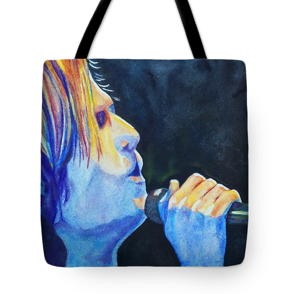 Sue Delain Tote Bag featuring the painting Keith Urban In Concert by Susan DeLain