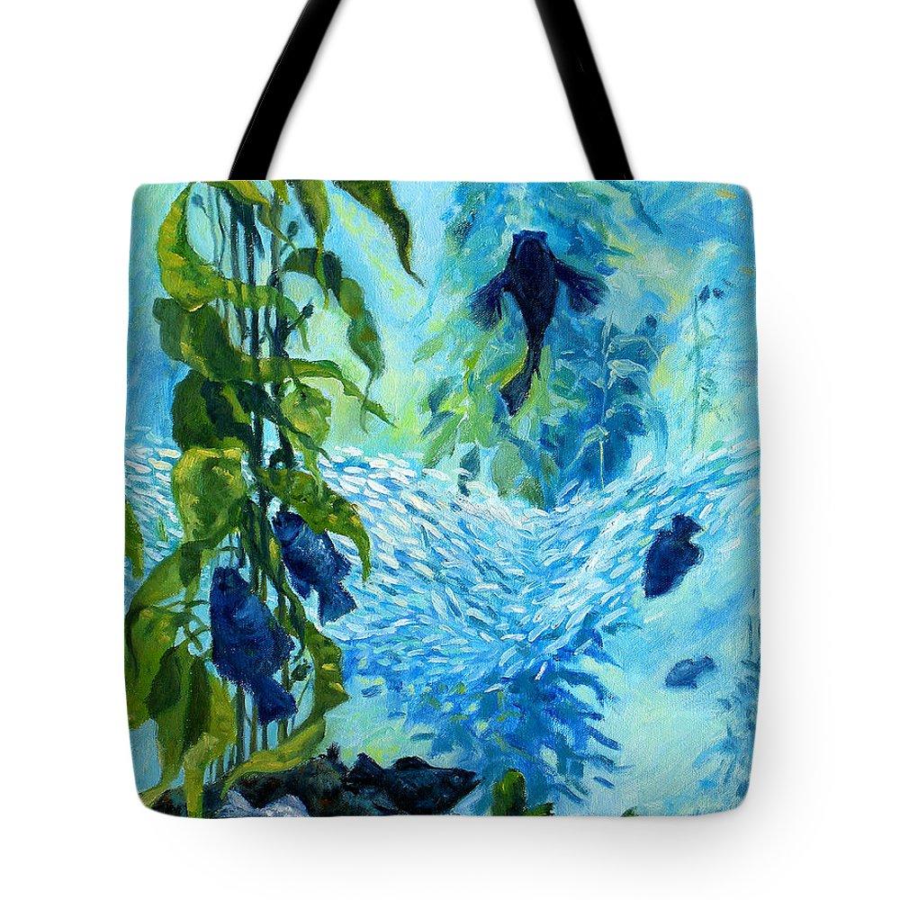Fish Tote Bag featuring the painting Kelp Tank, Monterey Bay Aquarium by Rhett Regina Owings