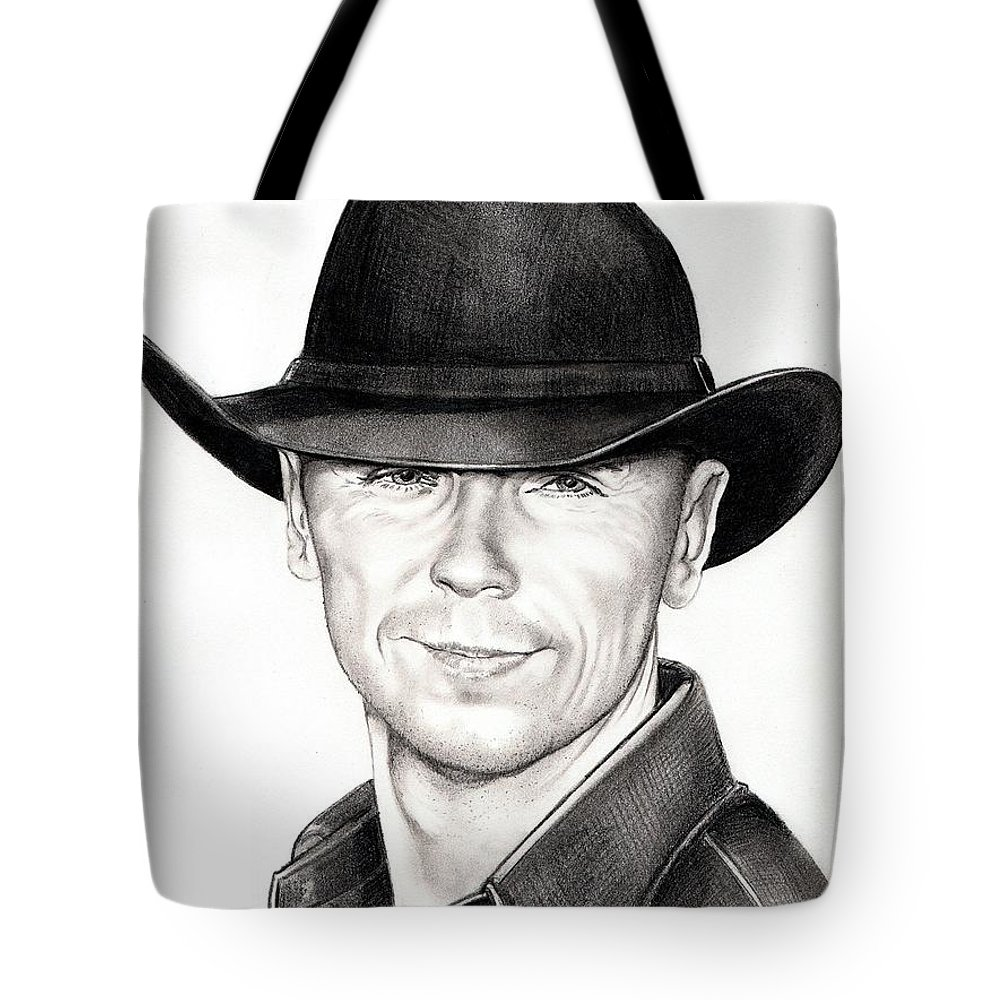 Portrait Tote Bag featuring the drawing Kenny Chesney by Murphy Elliott