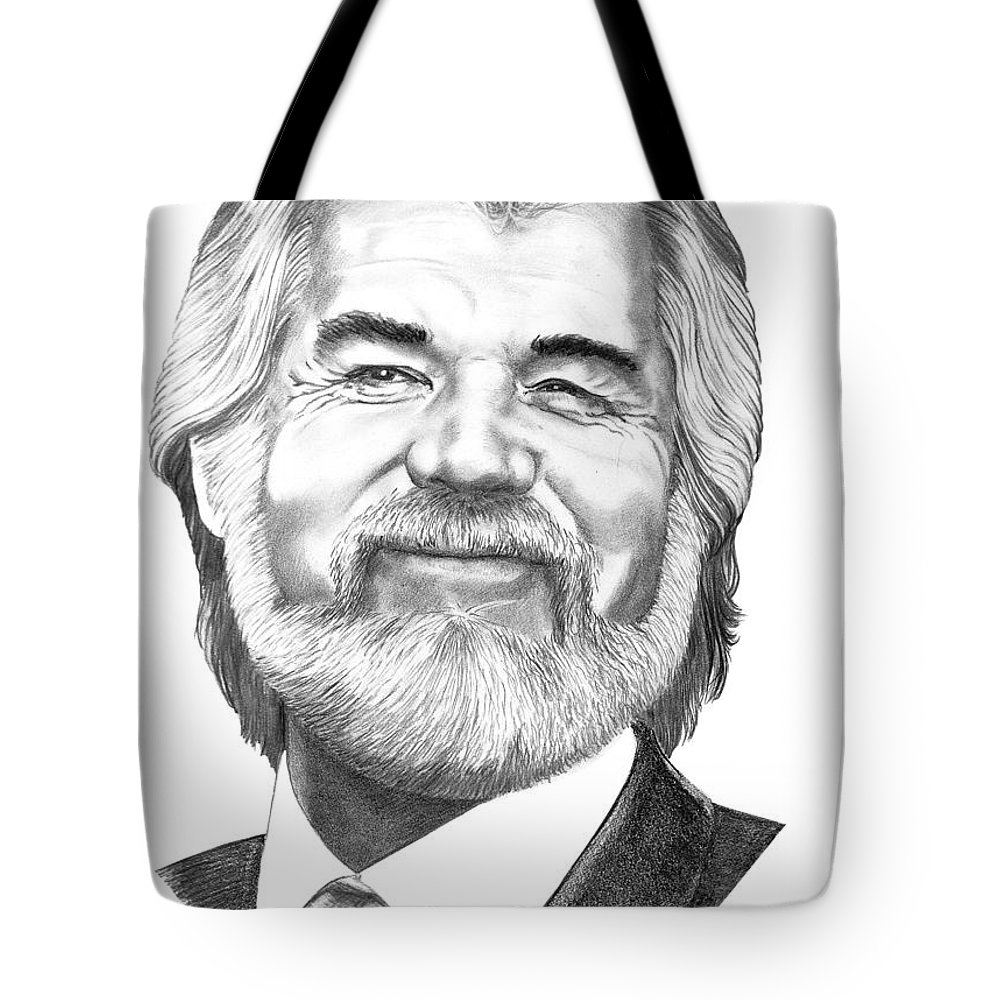 Music Tote Bag featuring the drawing Kenny Rogers by Murphy Elliott