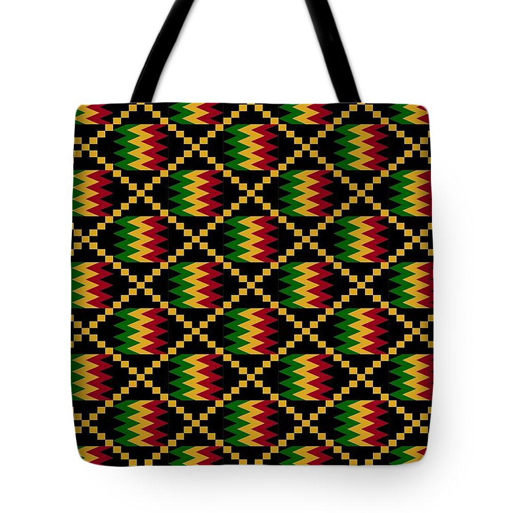 aa6319fe77b9 Ghana Tote Bag featuring the digital art Kente Cloth Zig Zags And Squares  by Julia Snader