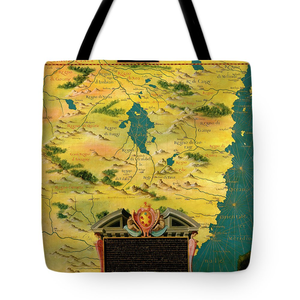 Map Tote Bag featuring the painting Kenya And Tanzania by Italian painter of the 16th century
