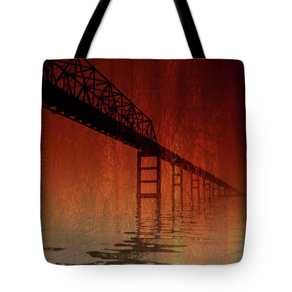 Bridge Tote Bag featuring the photograph Key Bridge Artistic In Baltimore Maryland by Skip Willits