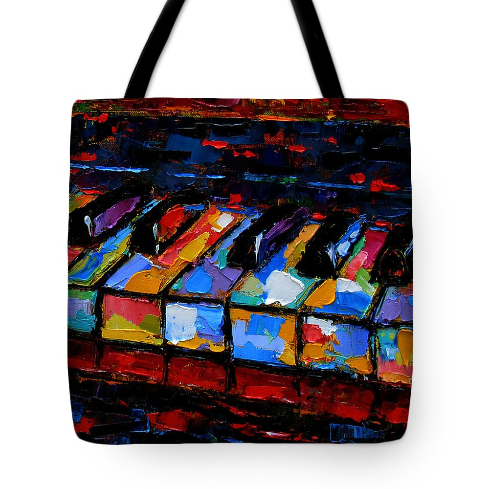 Abstract Music Painting Tote Bag featuring the painting Keyboard by Debra Hurd