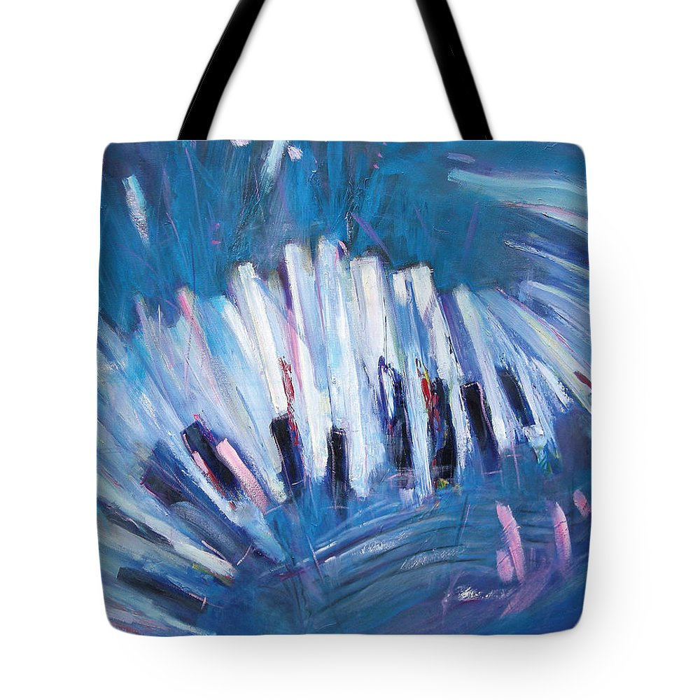 Piano Tote Bag featuring the painting Keys by Jude Lobe