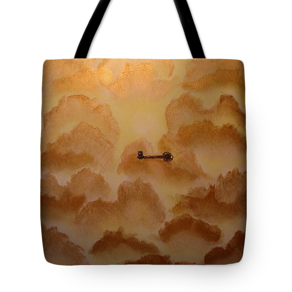 Gold Tote Bag featuring the painting Keys To The Kingdom by Laurie Kidd