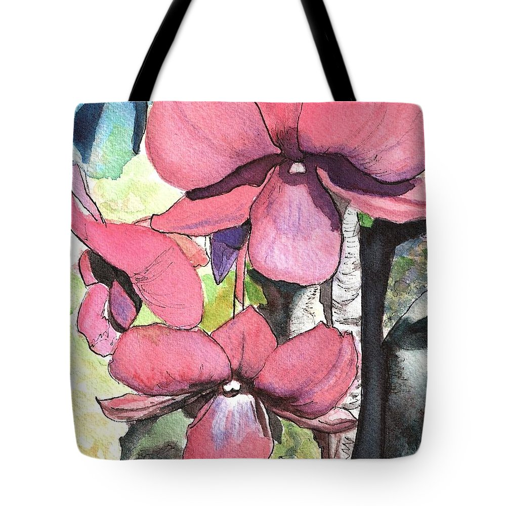 Orchid Tote Bag featuring the painting Kiahuna Orchids by Marionette Taboniar