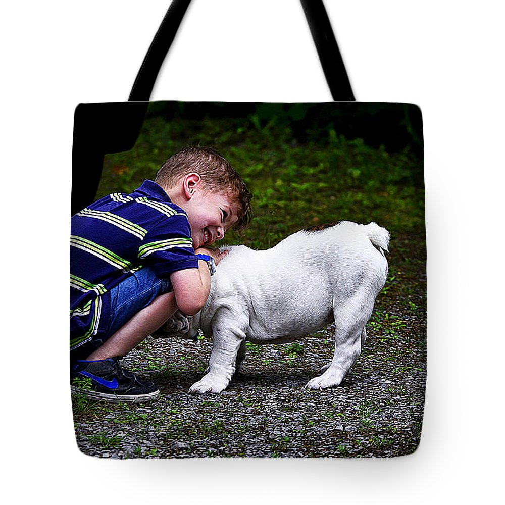 Dog Art Tote Bag featuring the painting Kid And His Dog by Queso Espinosa