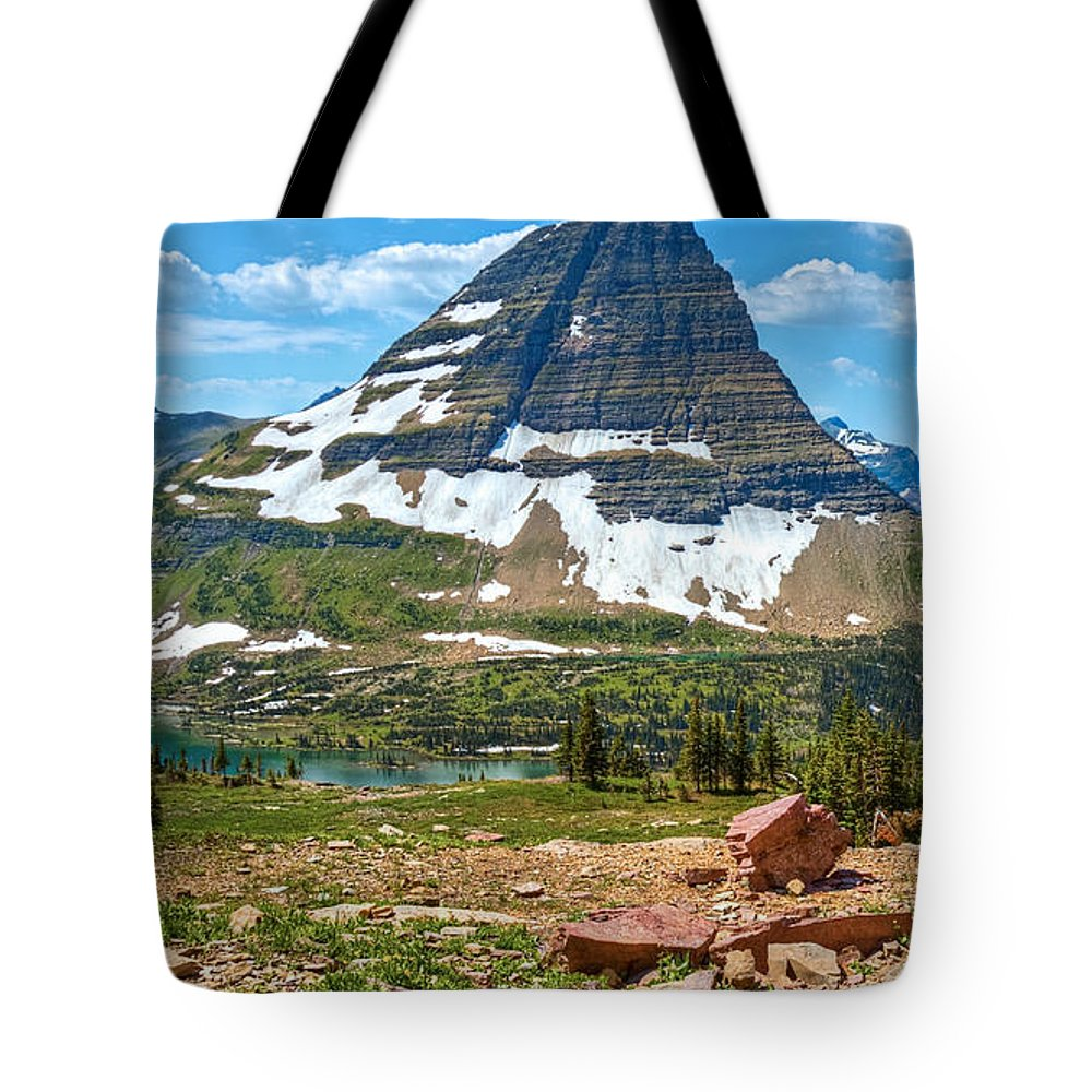 Kid Mountain Goat Tote Bag featuring the photograph Kid And The Bear In Widescape by James Anderson