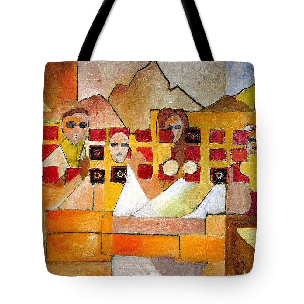 Abstract Tote Bag featuring the painting Kids In Venice by Patricia Arroyo