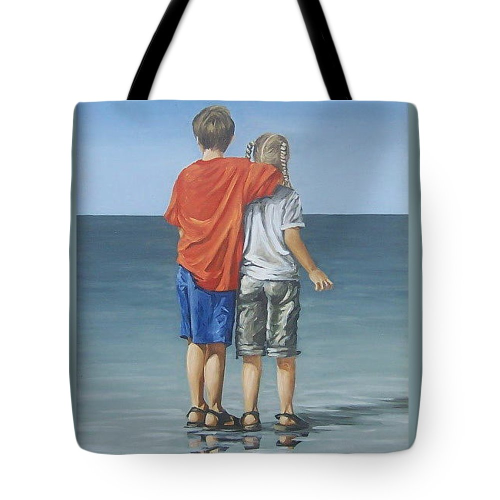 Kids Tote Bag featuring the painting Kids by Natalia Tejera
