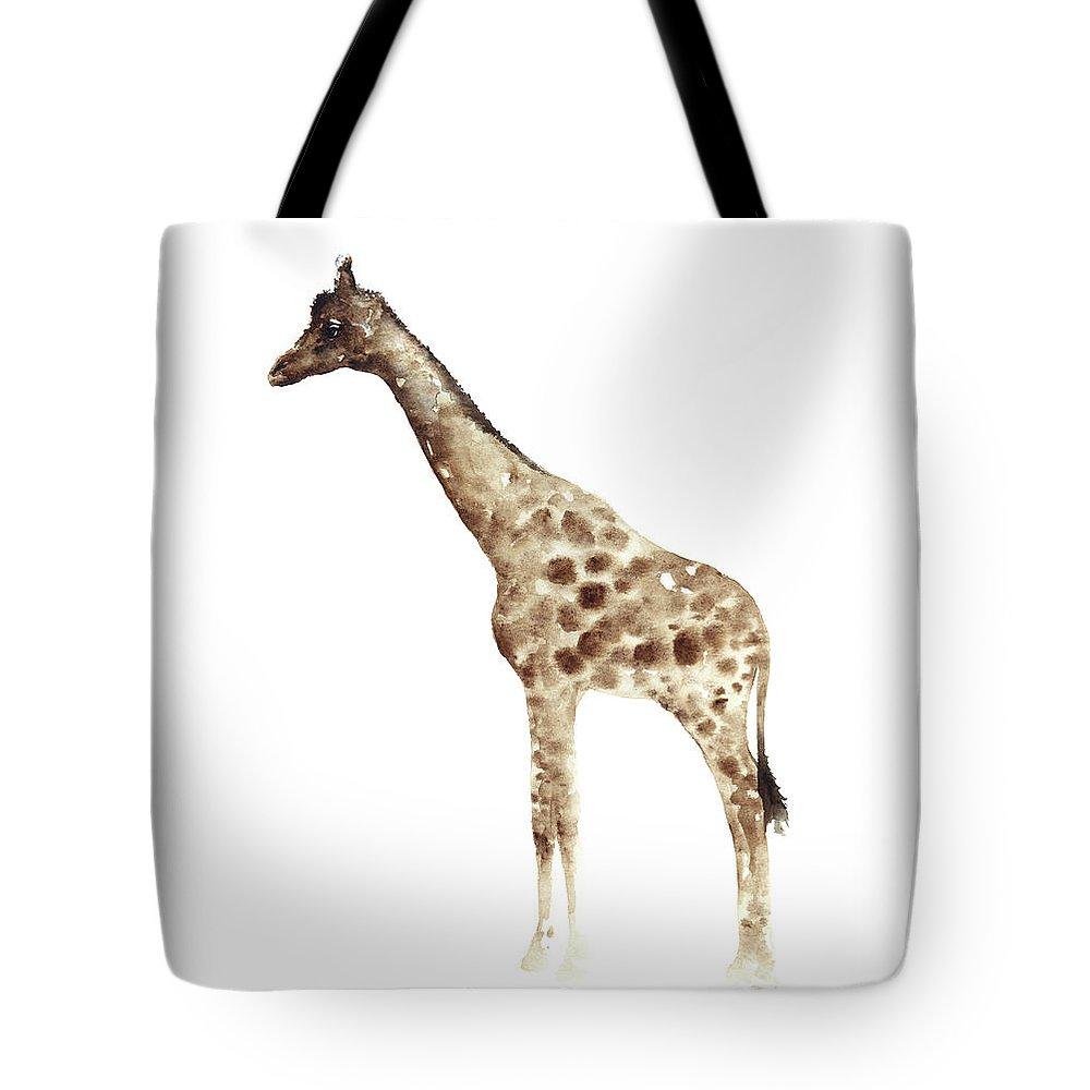 Prints Tote Bag featuring the painting Giraffe Nursery Art, Kids Room Wall Art, Large Art Prints by Joanna Szmerdt
