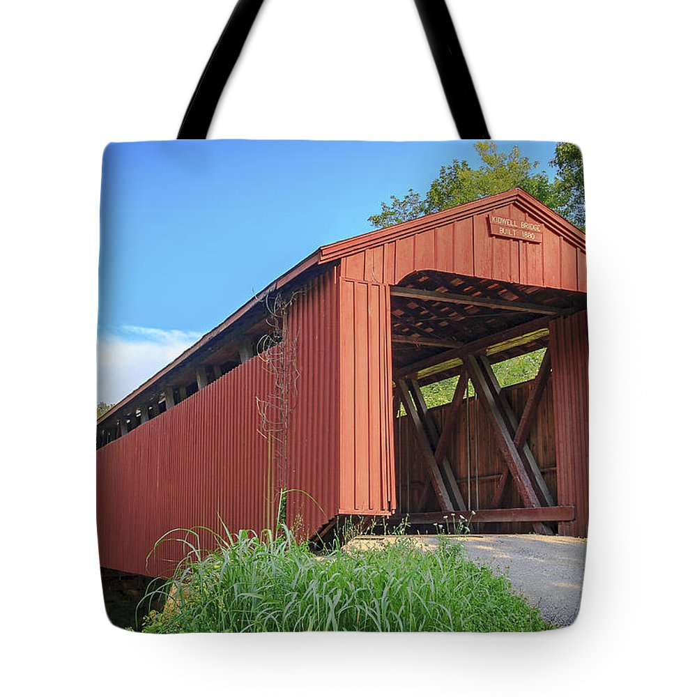 America Tote Bag featuring the photograph Kidwell Covered Bridge by Jack R Perry