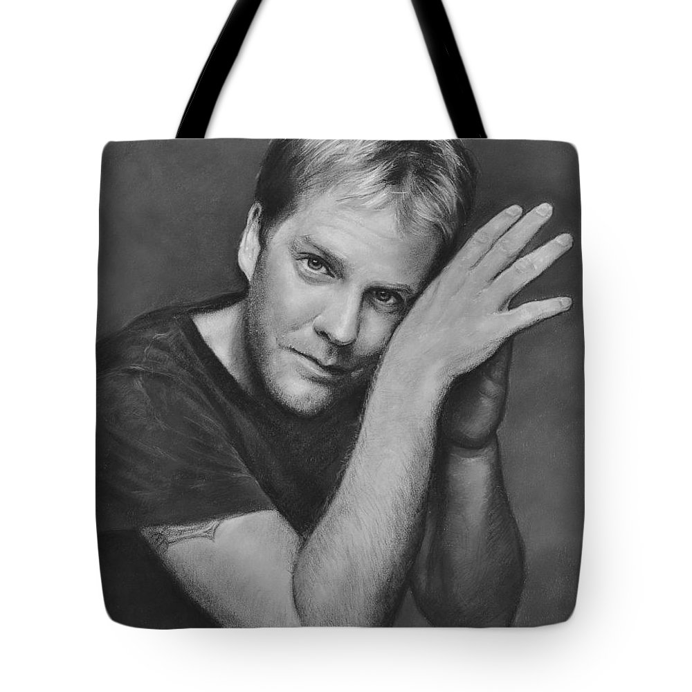 Portraits Tote Bag featuring the drawing Kiefer Sutherland by Iliyan Bozhanov