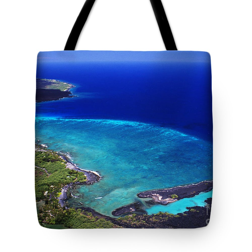 Above Tote Bag featuring the photograph Kiholo Bay Aerial by Peter French - Printscapes