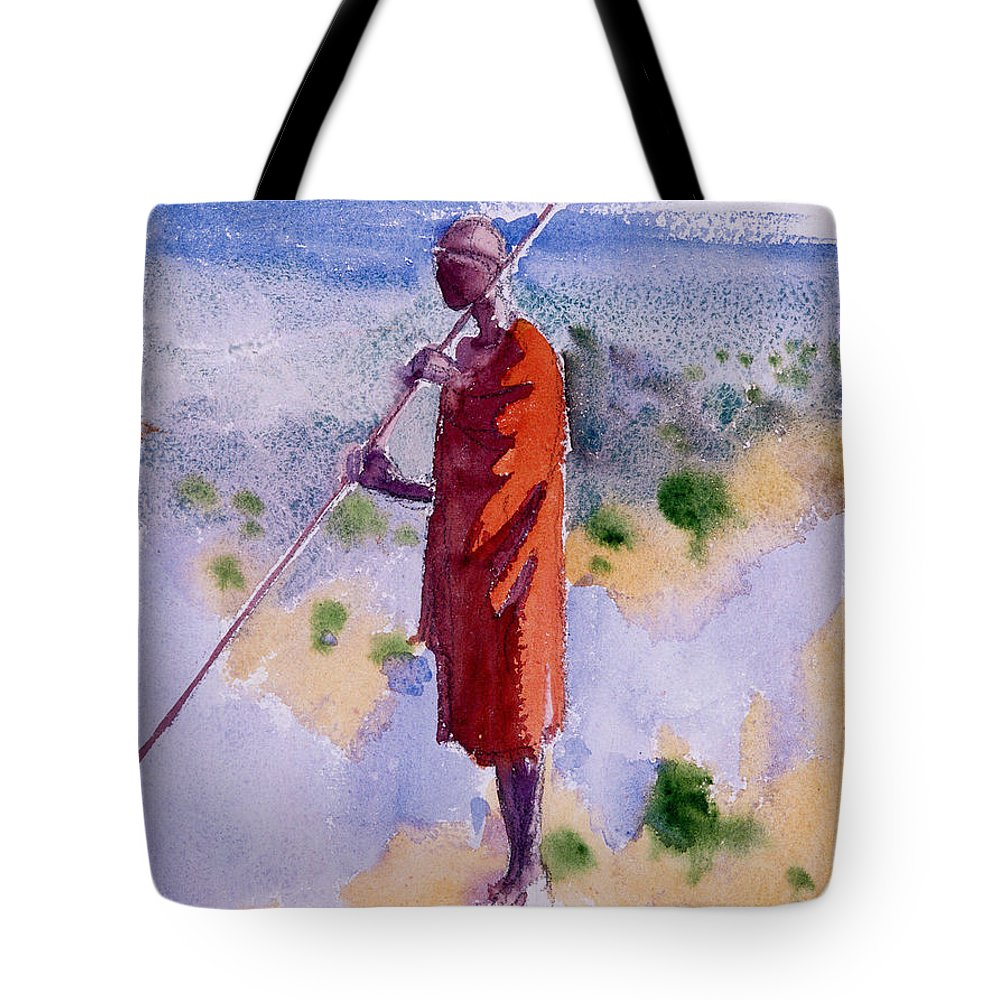 Akseli Gallen-kallela Tote Bag featuring the painting Kikuyu In A Red Cloak by Celestial Images