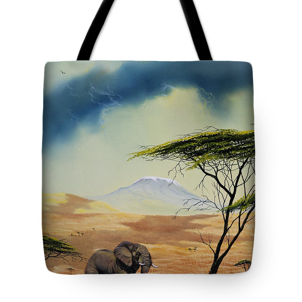 Landscape Tote Bag featuring the painting Kilimanjaro Bull by Don Griffiths