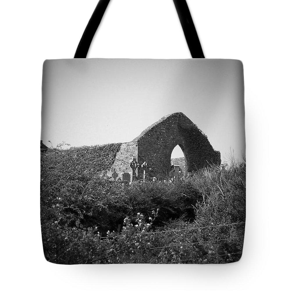 Irish Tote Bag featuring the photograph Kilmanaheen Church Ruins Ennistymon Ireland by Teresa Mucha