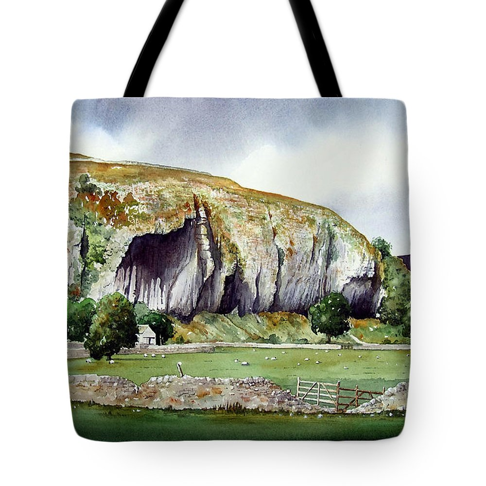 Landscape Tote Bag featuring the painting Kilnsey Crag by Paul Dene Marlor