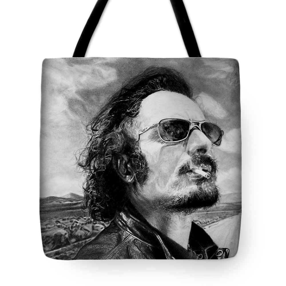 Kim Coates Alex 'tig' Trager Pencil Sons Of Anarchy Black And White Fan Art Potrait Tote Bag featuring the drawing Kim Coates by Stan Antonio