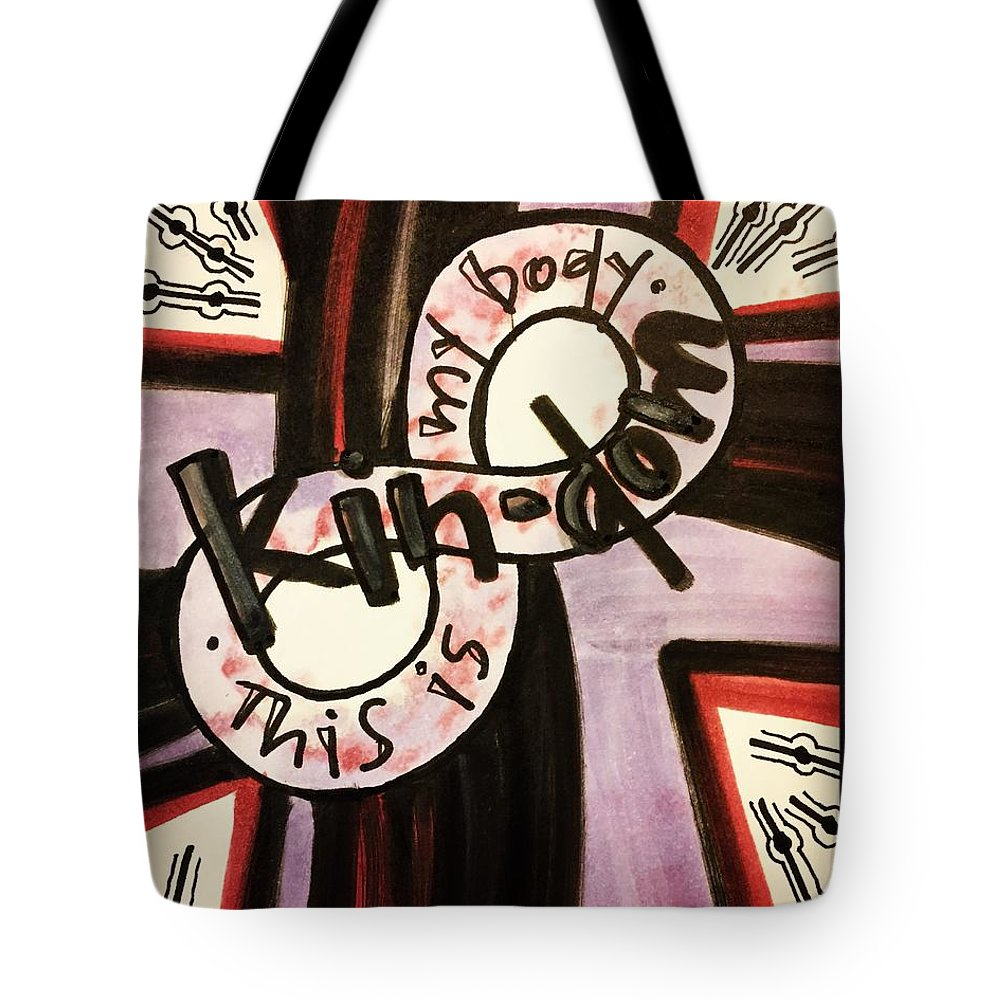 Kindom Tote Bag featuring the painting Kin-dom by Vonda Drees