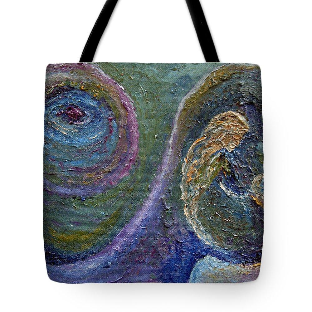 Karina Ishkhanova Kindness Green Blue Girl Mood Eye Purple Nature Fantasy Abstract Tote Bag featuring the painting Kindness by Karina Ishkhanova