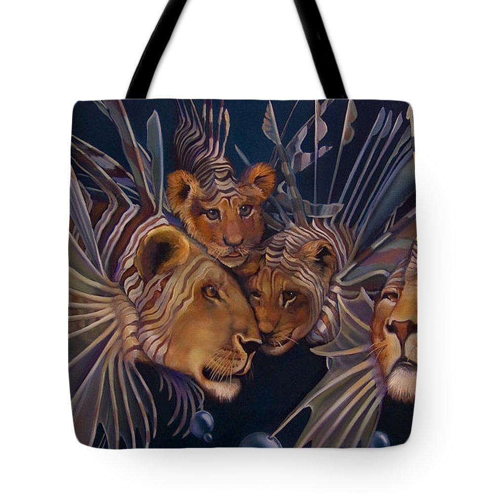 Lion Tote Bag featuring the painting Kindred Lionfish by Patrick Anthony Pierson