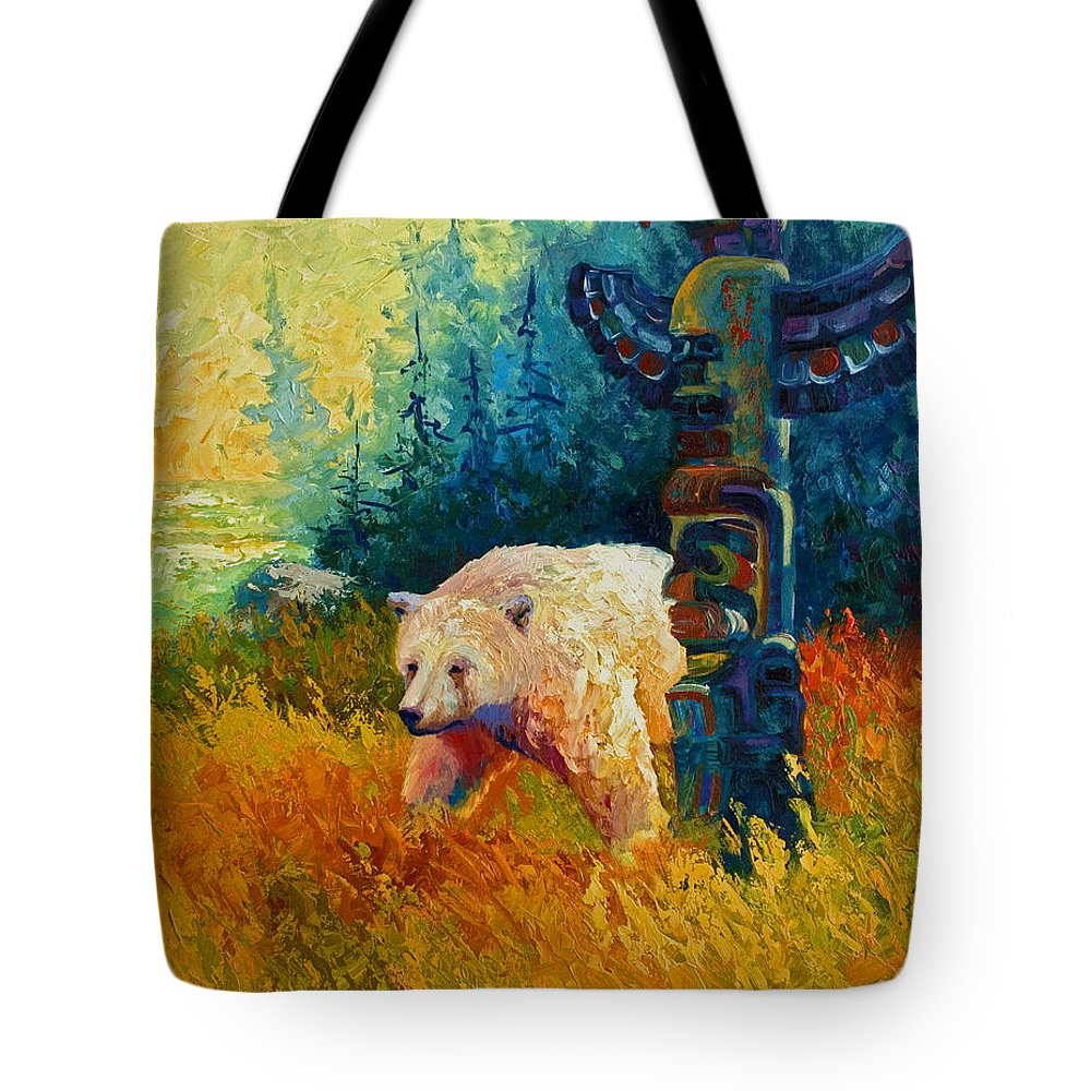 Western Tote Bag featuring the painting Kindred Spirits - Kermode Spirit Bear by Marion Rose