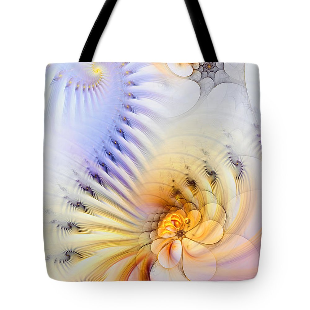 Abstract Tote Bag featuring the digital art Kinetic Pantomime by Casey Kotas