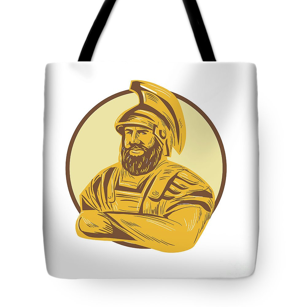 Drawing Tote Bag featuring the digital art King Agamemnon Arms Crossed Circle Drawing by Aloysius Patrimonio