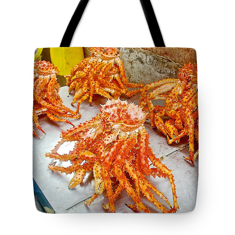 King Crab For Sale In Angelmo Fish Market In Puerto Montt-chile Tote Bag